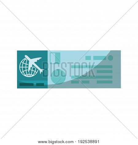 airplane ticket icon over white background vector illustration