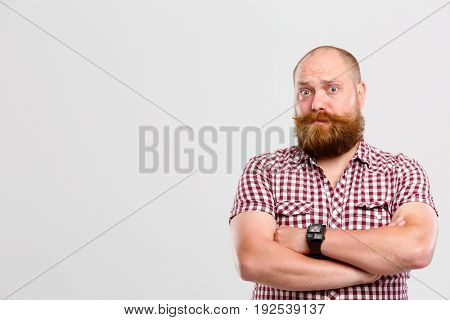 Bewildered man with ginger beard