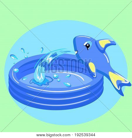 Kid portable pool with fish isolated on green background. Vector illustration