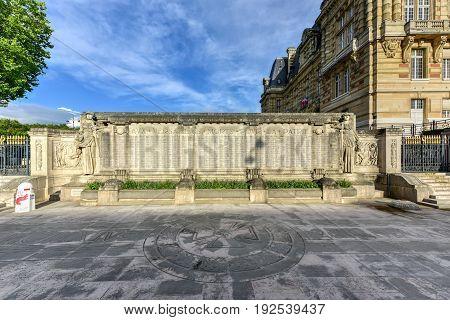 War Memorial Of Versailles, France