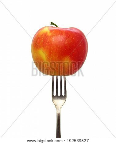 Apple fork healthy lifestyle organic food isolated on white background