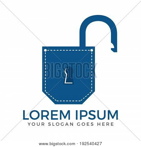 Pocket padlock logo design. Pocket app security logo design.