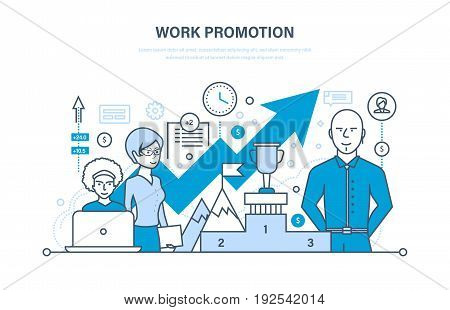 Work promotion, success, business strategy, achievement, advancement, leadership, teamwork, business team, ladder of success. Illustration thin line design of vector doodles infographics elements
