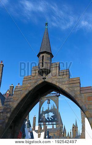 OSAKA, JAPAN - Nov 5 2016: Beautiful Hogsmeade Village at Wizarding World of Harry Potter, Universal Studios Japan (USJ).