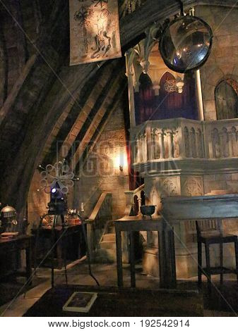 Osaka, Japan, Nov 24 2016: Dumbledore`s office in The Wizarding World of Harry Potter in Universal Studios Japan. Universal Studios Japan is a theme park in Osaka, Japan.Hogwarts Castle. Photo taken on: November 24th, 2016