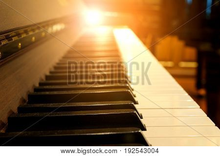 This a photo of Piano keys on wooden musical instrument