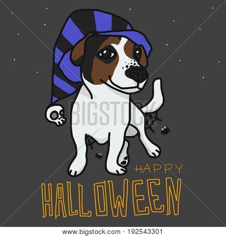 Happy Halloween Jack Russell dog cartoon illustration