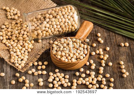 Soybeans in wooden bowl on old wood background