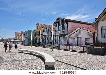 Street In Costa Nova, Beira Litoral, Portugal, Europe