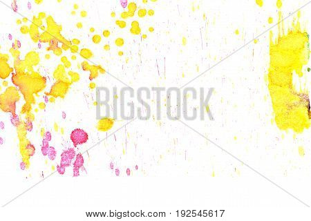 Abstract two-color yellow red ink splash. Ink blots. Elements of design. The water-soluble ink on white paper Leste. Abstractionism