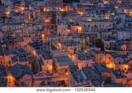 The evening lights of Sasso Barisano - Matera Basilicata Italy