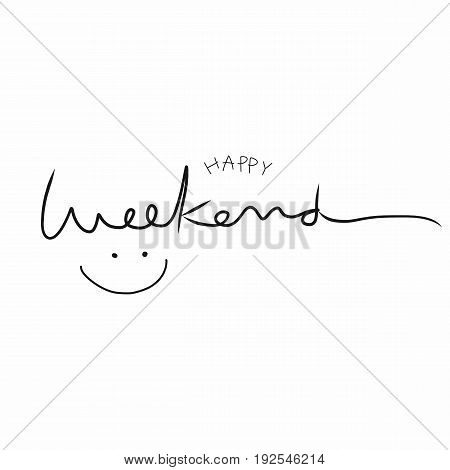 Happy weekend word lettering and smile face illustration