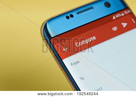 New york, USA - June 23, 2017: New email application menu on smartphone screen close-up. Using new email app