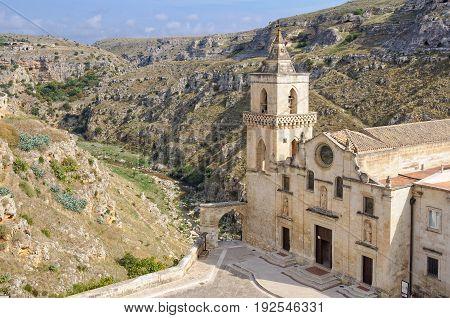 Church of San Pietro Caveoso at the edge of La Gravina is the only church in Sassi di Matera not dug into the tufa rock - Matera, Basilicata, Italy