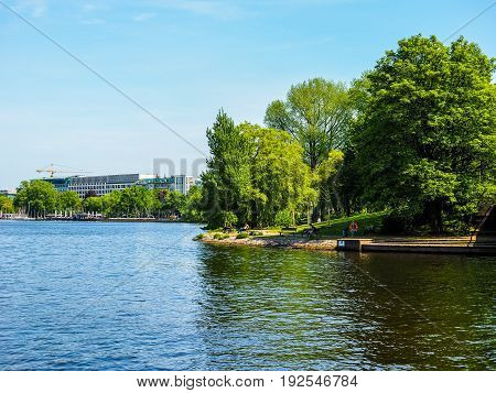 Aussenalster (outer Alster Lake) In Hamburg Hdr