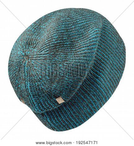 Hat Isolated On White Background .knitted Hat . Variegated Hat