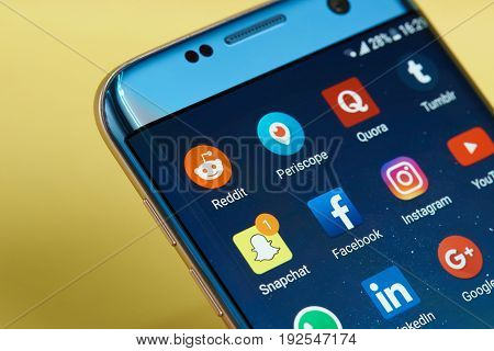 New york, USA - June 23, 2017: Application icons on smartphone screen close-up. Set of social media iconsin android system