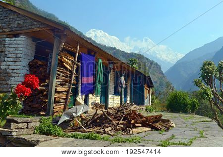 House in Gurung Village. Everyday Nepalese life. Himalayan Mountains, Nepal, Annapurna Base Camp track.