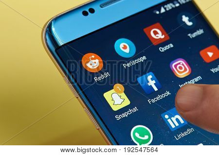 New york, USA - June 23, 2017:Social media icons on smartphone screen close-up. Starting social media app