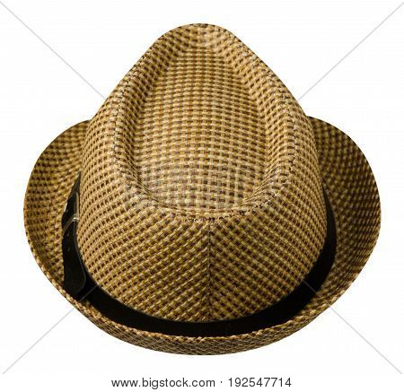Hat With A Brim .hat Isolated On White Background.brown Hat