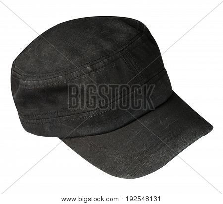 Hat Isolated On White Background. Hat With A Visor.black Hat