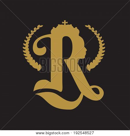 Royal crown logo. Business golden emblem with R letter and face silhouette