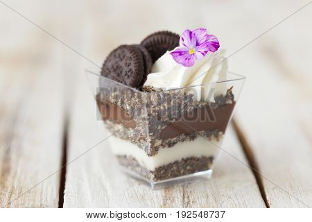 Trifle Black And White Chocolate With Cookie, Sweet Dessert.