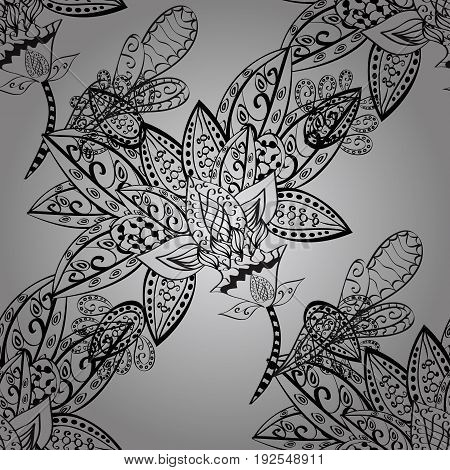 Seamless pattern on gray background with dim elements. Seamless dim texture curls. Vector art. Openwork delicate dim pattern. Brilliant lace stylized flowers paisley. Oriental style arabesques.