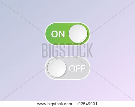 Vector Flat Icon On And Off Toggle Switch Button