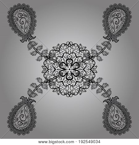 Vector pattern background sketch with antique floral medieval decorative flowers leaves and dim pattern ornaments on gray and dim background. Royal luxury dim baroque damask vintage.