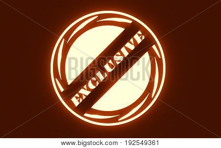 Stamp icon. Graphic design elements. 3D rendering. Exclusive buy text. Neon illumination