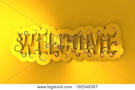 Lettering illustration with word Welcome. Typography poster with abstract ornament of curls. 3D rendering