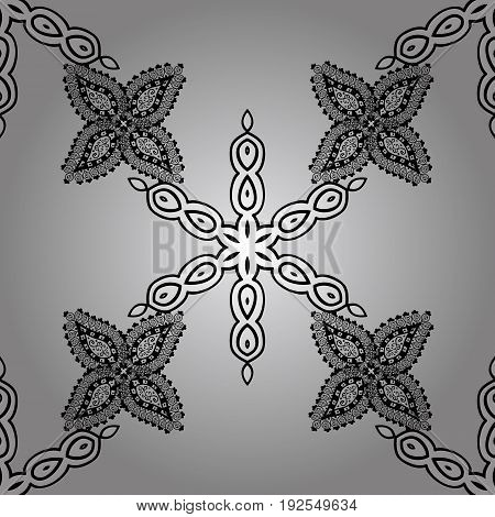 Seamless pattern. Vector white floral ornament brocade textile and glass pattern. White with floral pattern. Gray background with white elements.