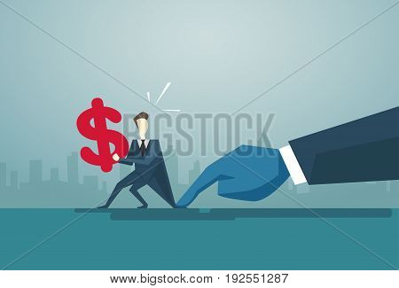 Businessman Hand Hold Dollar Sign Problem, Business Man Finance Crisis Concept Flat Vector Illustration