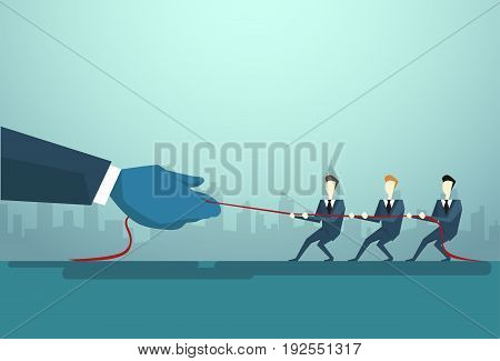 Businesspeople Group Two Team Pulling Rope, Business Competition Concept Flat Vector Illustration