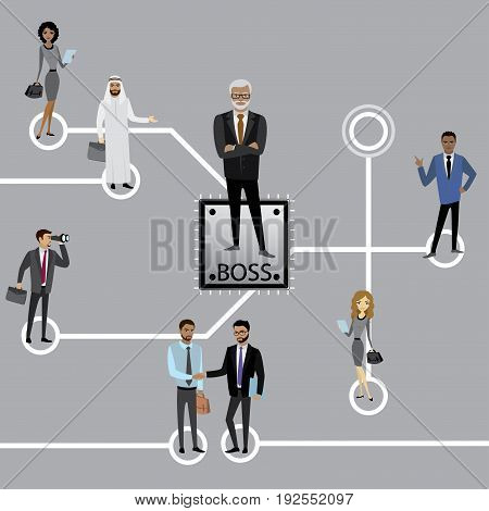 Recruitment. Group of business persons standing on Microchip and Circuit board. Business concept illustration.. Stock Vector illustration.