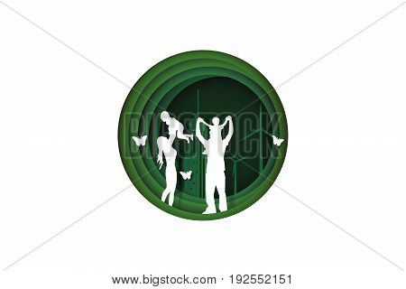 Paper cut style of family having fun playing in the green town concept ecology idea vector art and illustration.