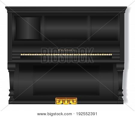 A very old black upright standard piano over a white background