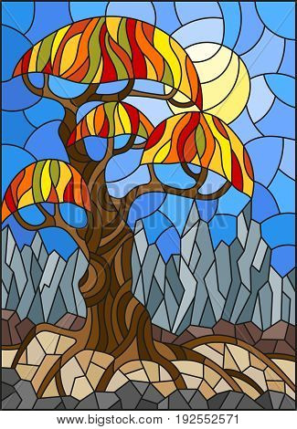 Illustration in stained glass style with autumn abstract tree on the background of sky sun and mountains