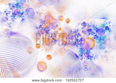 Abstract Orange And Blue Textured Bubbles On White Background. Fantasy Fractal Design. Psychedelic D