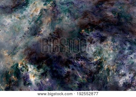 Abstract Marble Texture. Fractal Background In Blue, Green, Yellow And Black Colors. Fantasy Digital