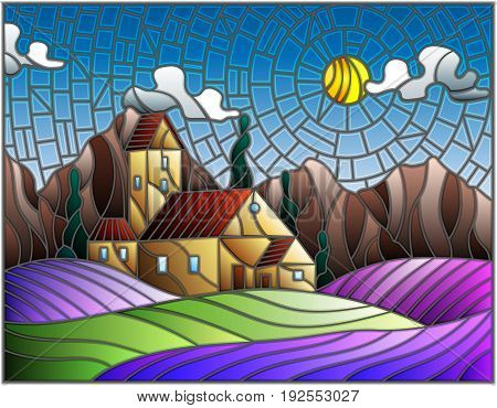Illustration in stained glass style landscape with a lonely house amid lavender fields mountains and sky
