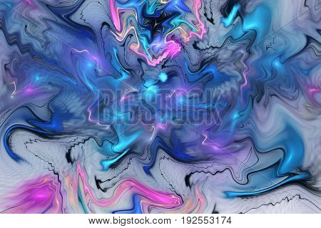 Abstract Fantasy Marble Texture. Fractal Background In Bright Blue, Purple And Black Colors. Digital