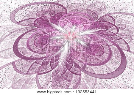 Abstract Exotic Pink Flower With Shining Sparks On White Background. Fantastic Fractal Design. Psych