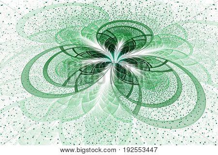 Abstract Exotic Green Flower On White Background. Fantastic Fractal Design. Psychedelic Digital Art.