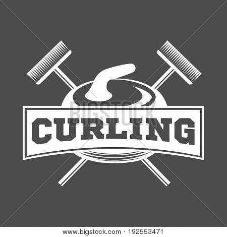 Curling game logo, emblem and design elements. Retro design of monochrome badge. Winter sports collection