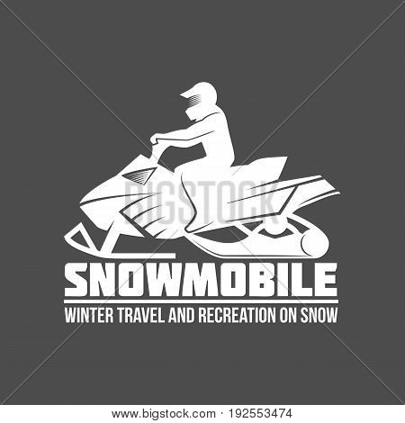 Snowmobile logo, emblem and design elements. Retro design of monochrome badge. Winter sports collection