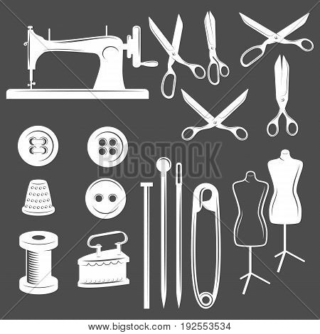 Set of tailor design elements. Sewing machine, needle, buttons, thread pin tools