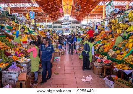 Arequipa, Peru - October 20, 2015: People in the huge San Camillo market building