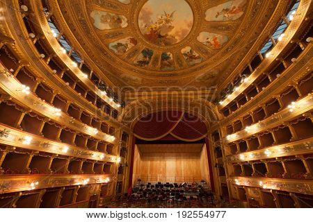 PALERMO, ITALY. December 30, 2016: The Teatro (Theater) Massimo Vittorio Emanuele is an opera house and opera company located on the Piazza Verdi in Palermo, Sicily. Italy.